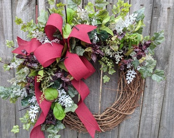 Herb Wreath - Wreath Great for All Year Round - Everyday Burgundy Wreath, Door Wreath, Front Door Wreath