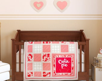 "PDF Pattern - ""cutie pie"" Baby Quilt Pattern with Hand-Lettered Applique"