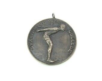 Swimming Medal. Sterling Silver Pendant Fob. Swarthmore College. Embossed Swimmer. Engraved. Vintage 1920s Elliott Philadelphia Sports Award