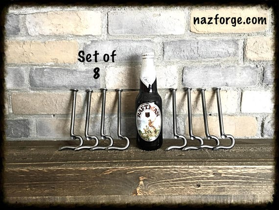 GROOMSMEN GIFT Set of 8 Bottle Openers made from a Large Nail- Personalized Option Available - Forged by Naz - Unique Cool Best Gifts Men