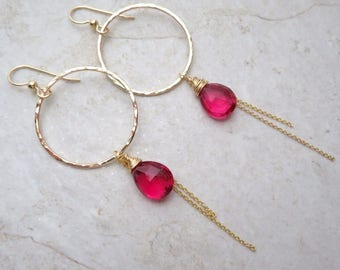Gold Hammered Hoops, Wire Wrapped, Hot Pink Quartz Gemstones, Gemstone Hoop Earrings, Mother's Day Gift, Handmade Hawaii, Spring Fashion