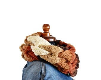 Cable knit scarf knit neckwarmer Knit loop scarf double wrap scarf women multicolor infinity scarf, cowl scarf snood thick knit scarf cooper