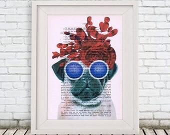 Pug Print, pug lover, pug art, pug painting, pug with flowers, gift for puglovers, frida kahlo, christmas gift, holiday gift