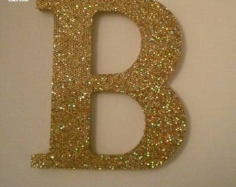 "GOLD/ANTIQUE GOLD Glitter Letters-Super Sparkling Octagon/Prisma Glitter Wall Letters- 5"" or 8"" Initials,Names or Words in A-Z"