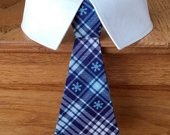 Blue Plaid Christmas Dog Tie with Snowflakes, Holiday Dog Tie, Winter Dog Tie, Christmas Dog Neck Tie, Dog Bow Tie