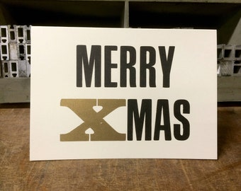 Letterpress Christmas card with gold print