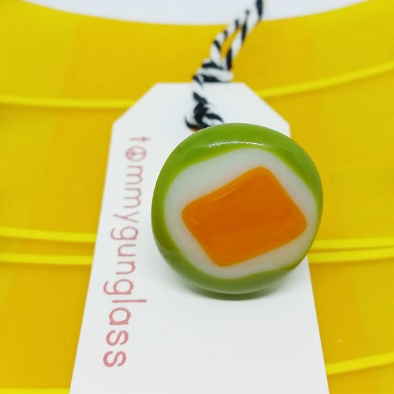 Green and Orange Glass Adjustable Ring