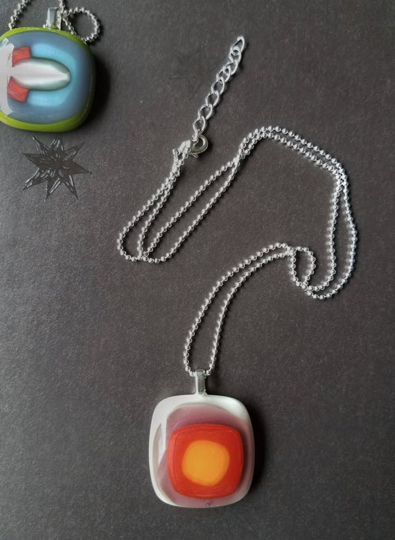 Multi-Color Glass Pendant with Silver Chain