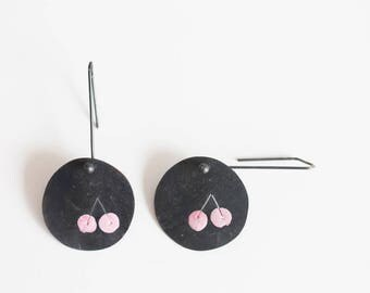 Black dangle silver earrings, Modern silver earrings, Unique black silver earrings, Pink dangle earrings, Contemporary earrings, Cherry pink