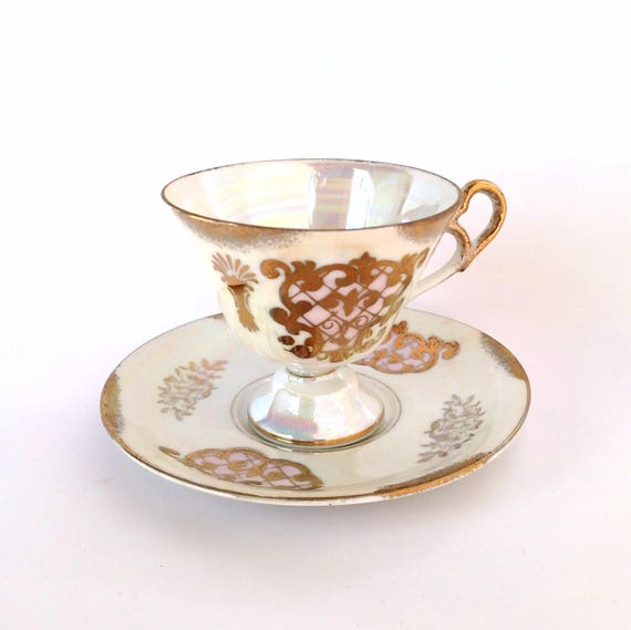 Vintage Ardco Rainbow White Lusterware Teacup and Saucer with Gold Scrollwork Design