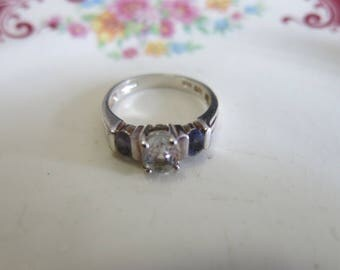 vintage white topaz and iolite engagement ring sterling silver 925 size 6 vintage jewelry