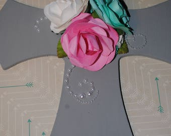 Gray Wood Cross embellished with paper roses