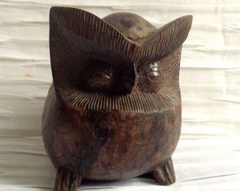 Wood Modernist Owl Sculpture. Vintage 1960, Modernist. Mod, Mid century, Danish Modern, Eames era.