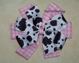 Cowgirl Hair Bow or Headband / Cow Print + Pink Gingham / Cowgirl Princess / Pageant / Photo Prop / Infant/ Baby / Girl / Toddler / Boutique