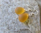 honey yellow earrings sea glass teardrop jewelry bridesmaid beach glass minimalist tiny earrings
