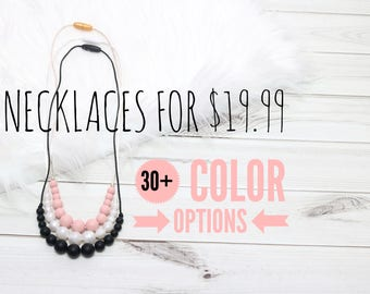 3 Silicone Teething Necklaces | Teething Necklace | Breastfeeding Necklace | Chewelry | Baby Shower Gift | Silicone Teething Necklace - Mom
