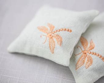 Handmade Set of Two Sachets Embroidered Decor Lavender Sachets Lavender Pillow Embroidered Cushions Embroidered Scented Sachet DRAGONFLY