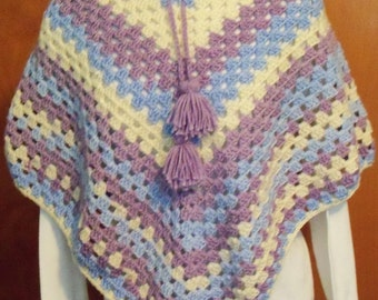 Hooded Crocheted Adult Poncho