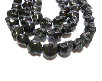 Black Howlite Skull - Skulls - 12mm x 11mm x 10mm - 33 beads - Full Strand - Synthetic Turquoise - Halloween Dia de los Muertos