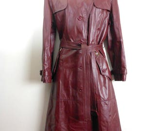 Vintage 70s ETIENNE AIGNER Oxblood Red Burgundy LEATHER Coat Maxi Length Women's Trench Coat