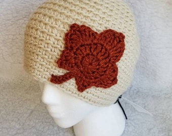 Fall Leaves Crochet Beanie