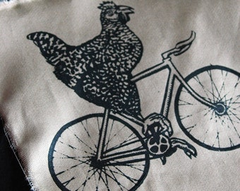 Chicken on a Bicycle Patch - Black Ink on Tan