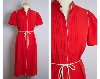 Vintage 1970's Red Mandarin Collar Midi Shirt DRess L/XL
