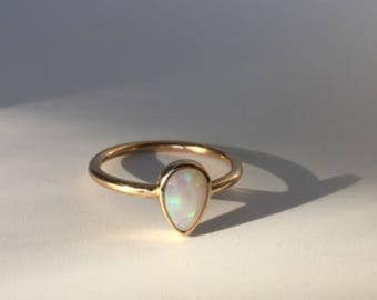 pear opal 14k gold ring, rose yellow white, australian opal jewelry, handmade teardrop engagement