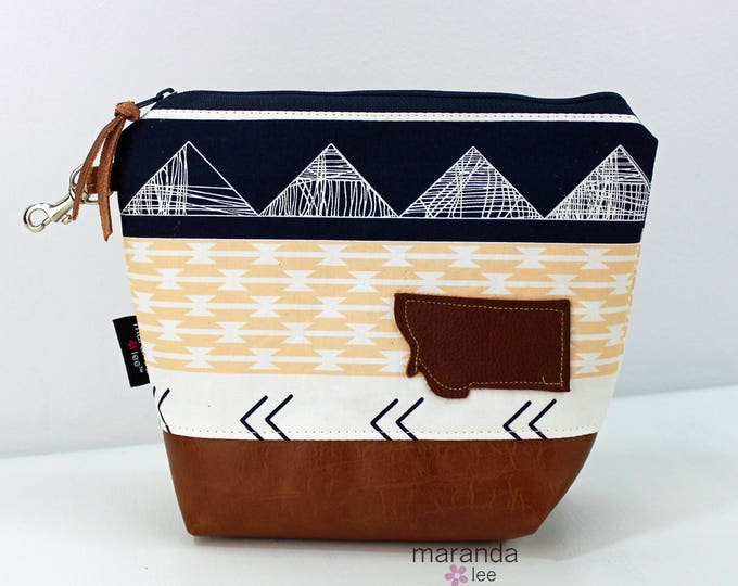 AVA Clutch Medium - Peach Mountains with Montana Patch with PU Leather READY to SHIp