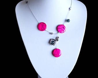 Fuchsia Necklace, Illusion Necklace , Mother Of Pearl Shell Necklace, Gift For Her, Round Shell Necklace