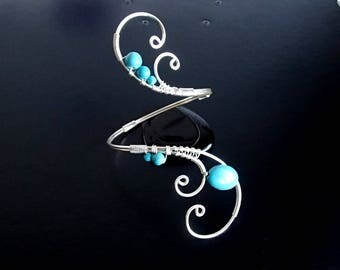 Turquoise bracelet, Silver Bracelet, Wire Wrapped Cuff Bracelet,  Arm Bracelet, Wire jewelry