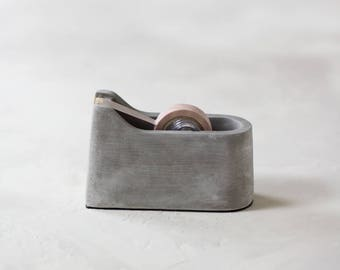 concrete tape dispenser w gold details