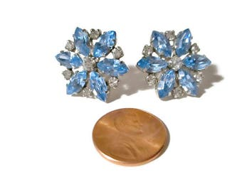 Vintage Blue SnowFlake Rhinestone Earrings 1950s Mid Century Bridal