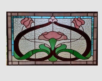 Large Victorian stained glass window panel pink tulips clear stained glass panel window hanging window art 0265 22 1/2 x 13 1/2