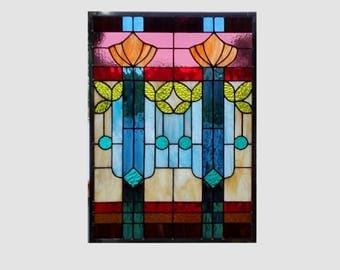 Arts and crafts mission prairie style stained glass panel window hanging stained glass window panel  0268 15 3/4 x 21 3/4