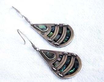 Abalone Dangle Earrings Mexican Sterling Silver Dangle Drops Reticulated Vintage Tear Drop Ocean Mirrors