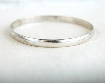 Mexican Bangle Bracelet Size 8 Vintage Boho Stacking Bangles Silver Plated Jewelry Plain Minimalist Stacker