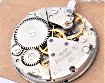 steampunk watch necklace - large vintage watch mechanism on solid sterling silver chain