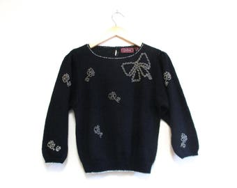 Vintage 80s Sweater   Black and Silver Bow 1980s Beaded Sweater   size small - medium