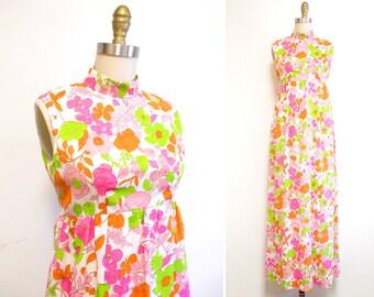 Vintage 1960s Dress   Neon Floral Print 1960s 70s Maxi Dress   size xs - small