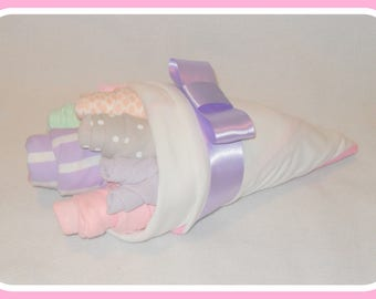 Baby Girl Purple Clothing And Washcloth Flower Bouquet-Stunning Baby Shower Or Gift Idea