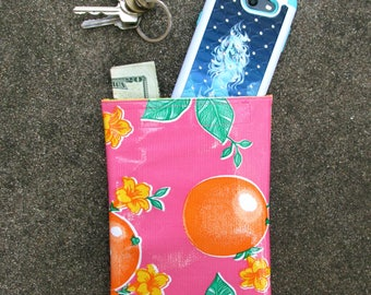 """Pink oranges oilcloth case for makeup or essentials, 8.75"""" by 5.5"""""""