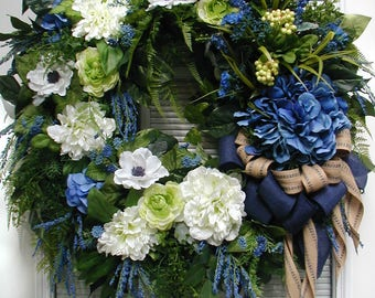 Large Summer Front Door Wreath Spring Silk Floral Decoration Royal Indigo Blue White Lime Green Elegant Luxe Fireplace Grapevine Wreath