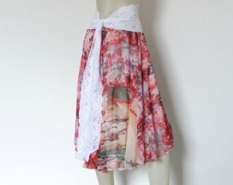 Chiffon Stunning 2 layered Tango Skirt Circle / Bell Size fits US 4 and 6  Milonga Dance Wear colorful Print Jupe