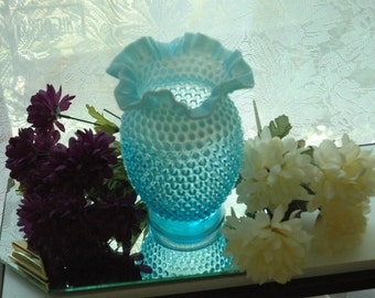 "Vintage PreLogo Fenton Blue Opalescent Hobnail Double Crimped 8.5"" Tall Vase - FREE SHIPPING"