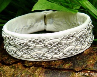 White Leather Viking Cuff Bracelet MUNINN Custom Handmade Swedish Pewter Sami Bracelet for Men and Women