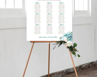 Digital Reception Seating Chart, Wedding Reception Sign, Day Of Stationery - Mint & Teal Garden (Style 0029)