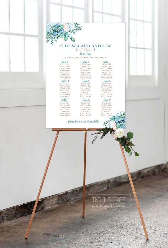 Seating Chart - Mint & Teal Garden (Style 0029)
