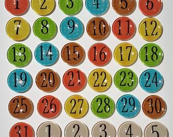Rainbow number magnets   Calendar magnets    number magnets   Perpetual calendar   Magnet board numbers   Organizing