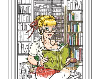 Ex Libris - Coloring Page - Instant Download